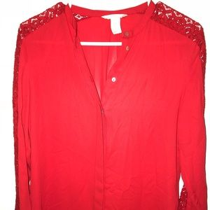 H&M Red Button Down Blouse with Lace Detailing